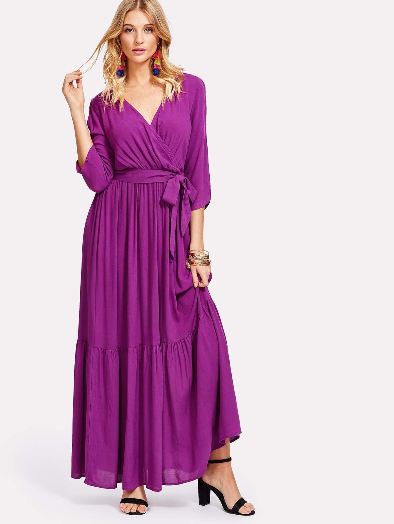 Self Belted Surplice Wrap Dress surplice neck self belted floral dress
