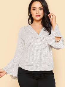 Knot Flounce Sleeve Polka Dot Surplice Wrap Top