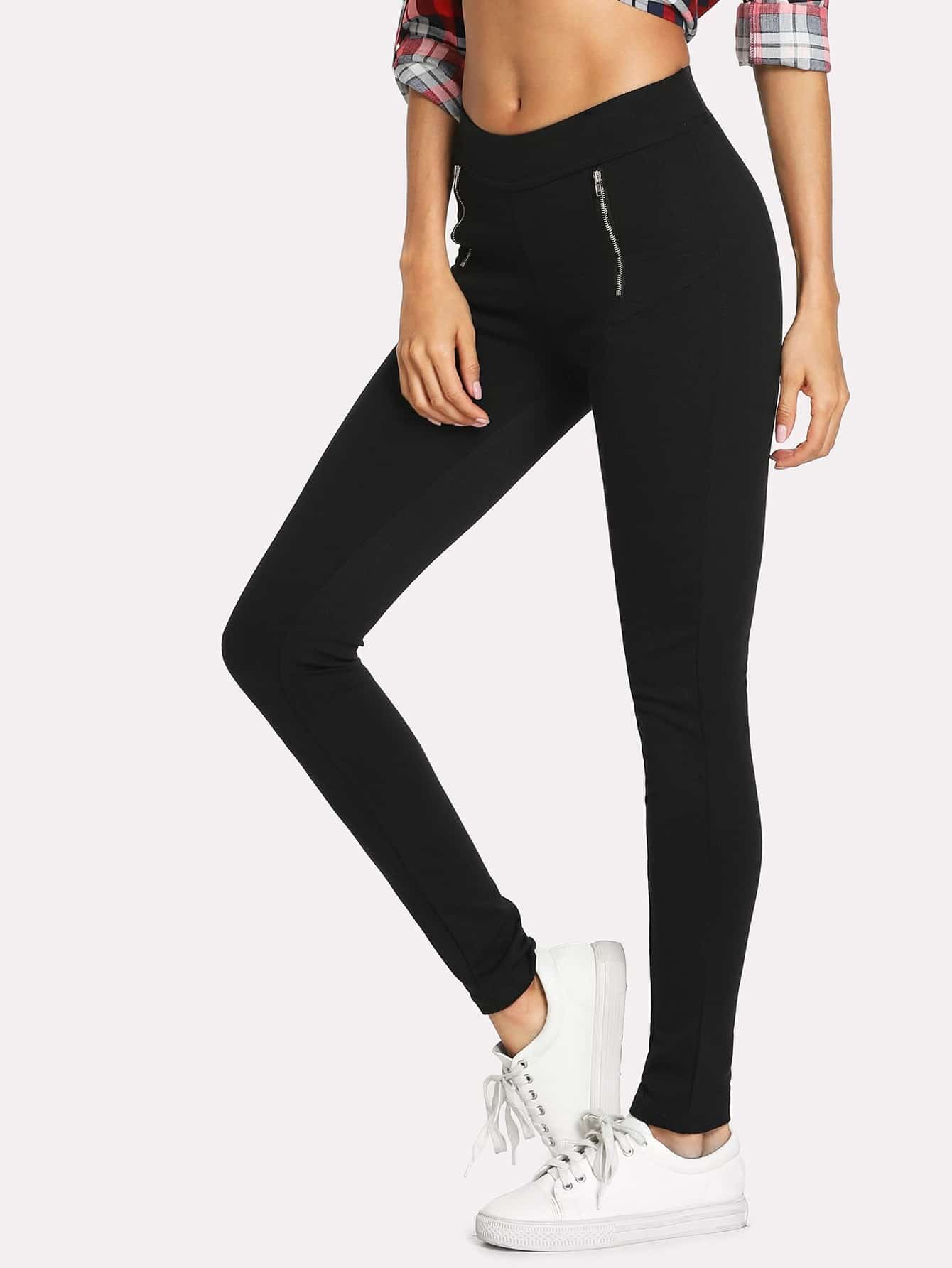 Dual Zip Front Skinny Pants zip back skinny pants