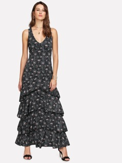 X-Strap Back Layered Peacock Print Dress