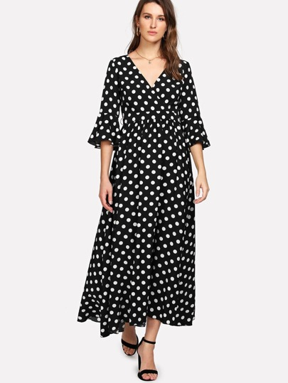 Flounce Sleeve Self Belt Polka Dot Dress