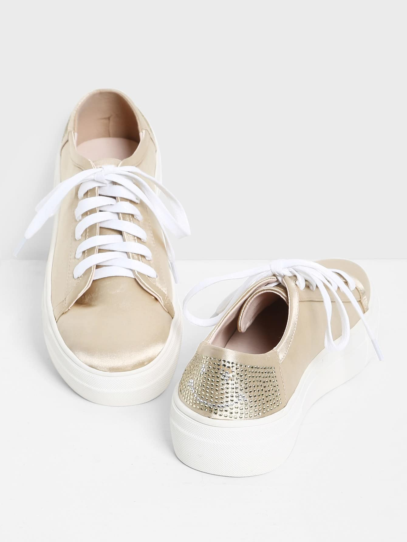 Rhinestone Detail Lace Up PU Sneakers