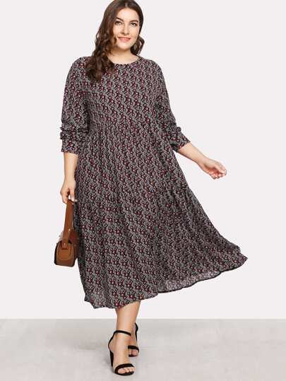 Ditsy Print Swing Dress