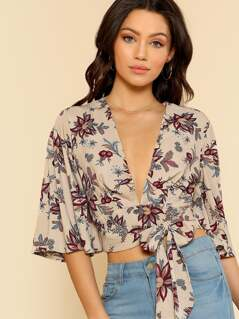 Bell Sleeve Plunge Neck Top