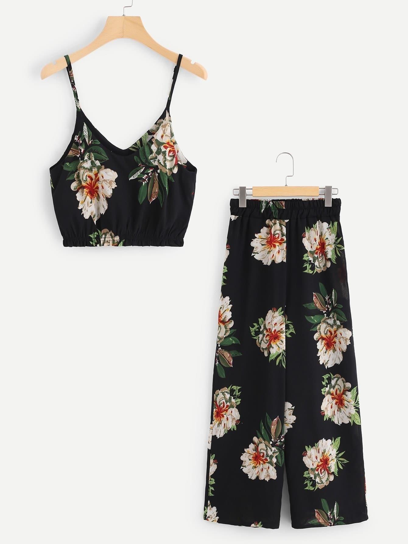 Random Florals Crop Cami Top With Wide Leg Pants