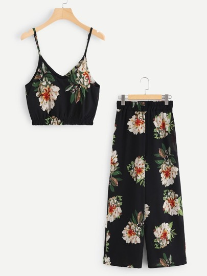 Random Florals Crop Cami Top With Wide Leg Pants