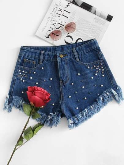 Frayed Hem Faux Pearl Beading Denim Shorts
