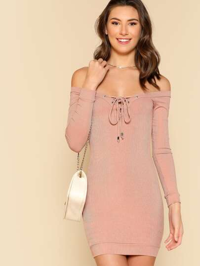 Rib Knit Lace Up Long Sleeve Top MAUVE