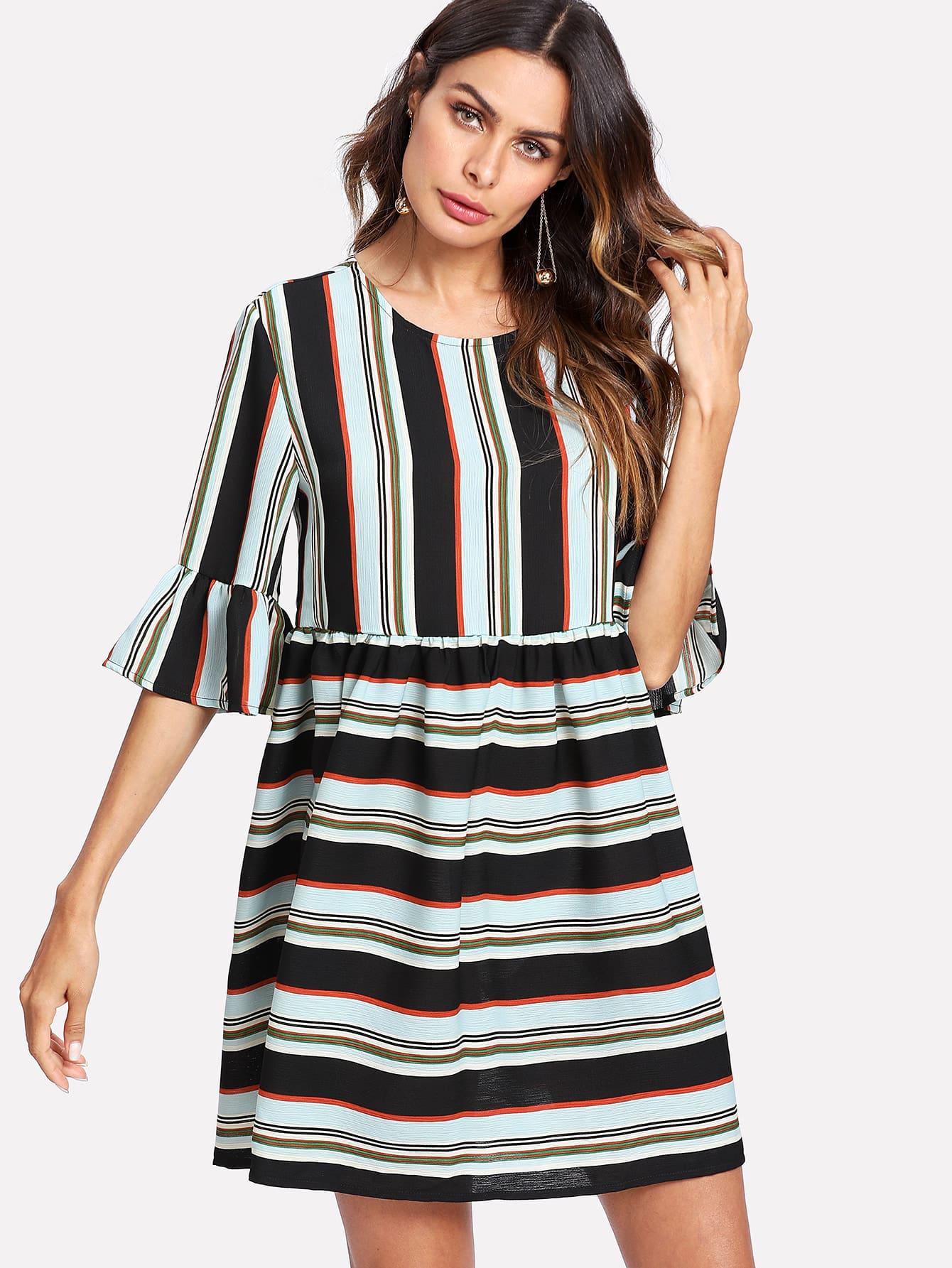 Flounce Sleeve Striped Smock Dress flounce sleeve striped denim dress
