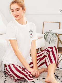 Ruffle Hem Top And Striped Pants PJ Set