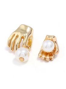 Faux Pearl & Palm Design Mismatch Earrings