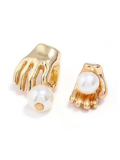 Faux Pearl & Palm Design Mismatch Earrings