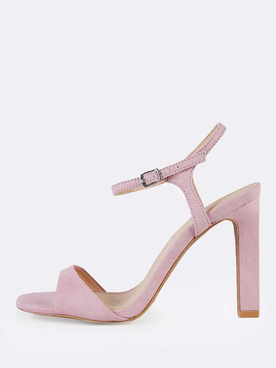 68e8e83aaf69 Ankle Strap Single Sole Sandal Heels LILAC