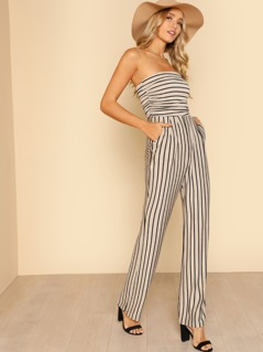 Bunched Side Detail Strapless Jumpsuit TAUPE