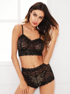 Floral Lace Bustier Top And Shorts Pajama Set
