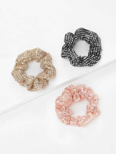 Sequin Hair Scrunchie 3pcs