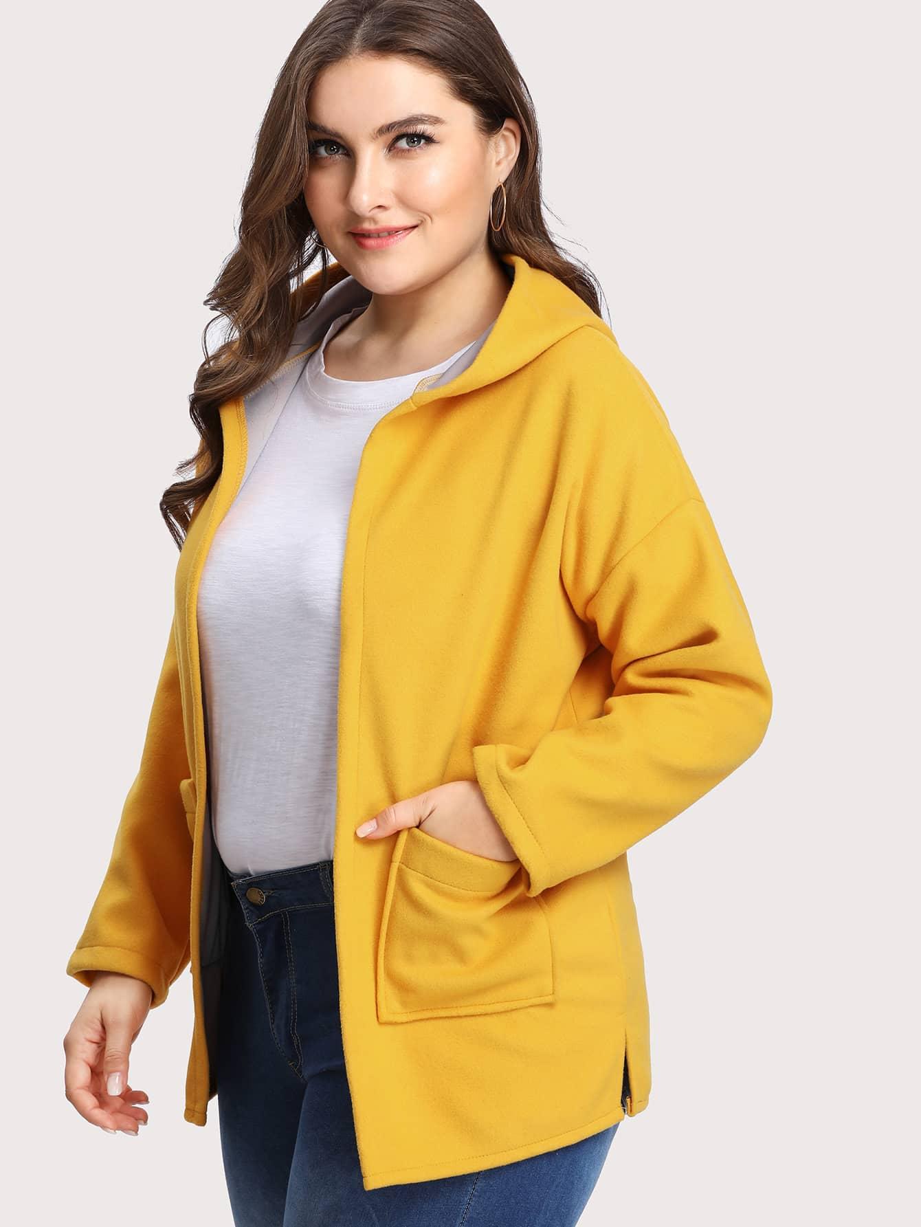 Contrast Lining Drop Shoulder Hooded Coat two tone drop shoulder sweatshirt