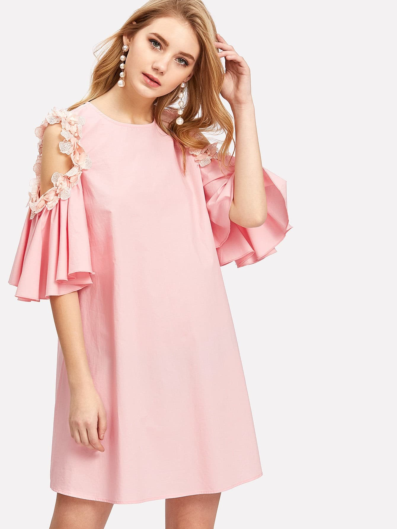 Pearl And Applique Embellished Cold Shoulder Dress