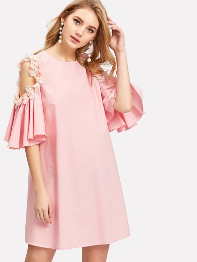 Pearl And Applique Embellished Cold Shoulder Dress