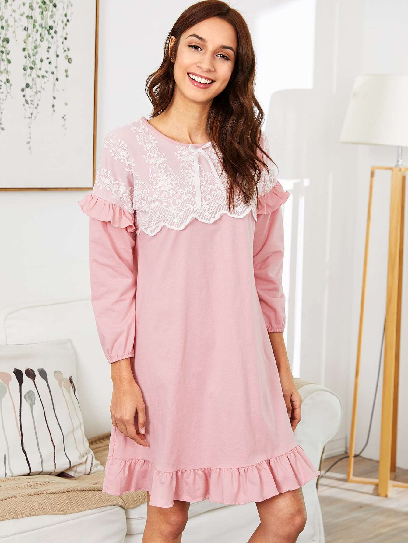 Contrast Lace Ruffle Trim Dress maison jules new junior s small s pink combo lace crepe contrast trim dress $89