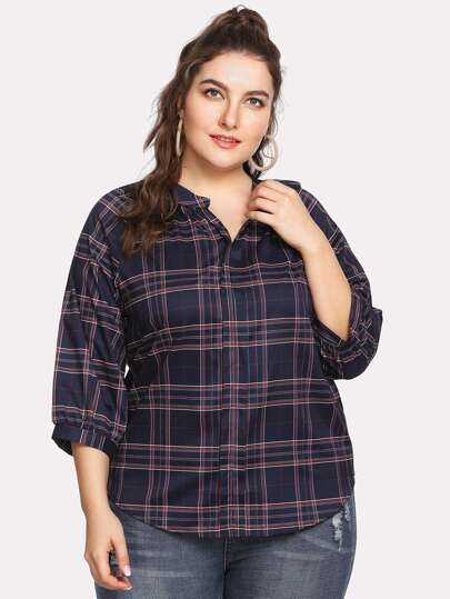 Tartan Plaid Raglan Sleeve Blouse