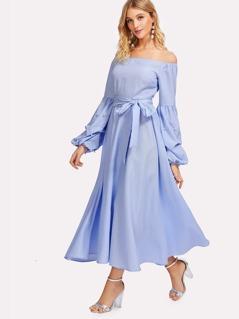 Pearl Beading Gathered Sleeve Pinstripe Dress