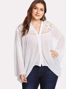 Lace Insert Dolman Sleeve See Through Top