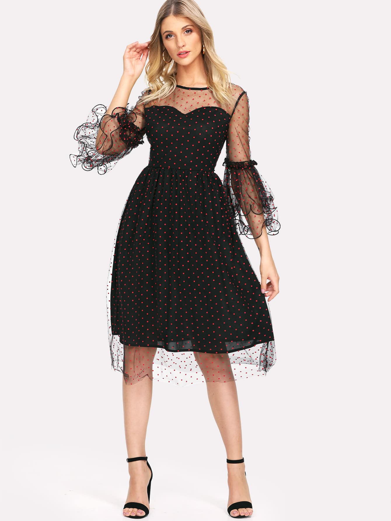Layered Bell Sleeve Dot Mesh Overlay Dress pearl detail layered frill sleeve top