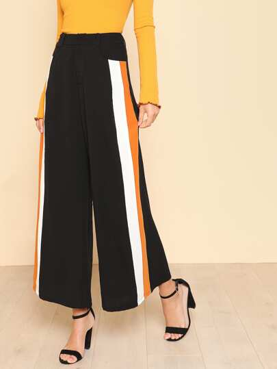 Striped Panel Palazzo Pants