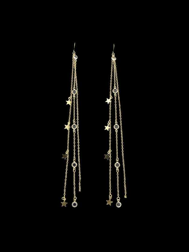 Gold Multi Layers Chain Rhinestone Super Long Earrings rhinestone ball hook long chain earrings