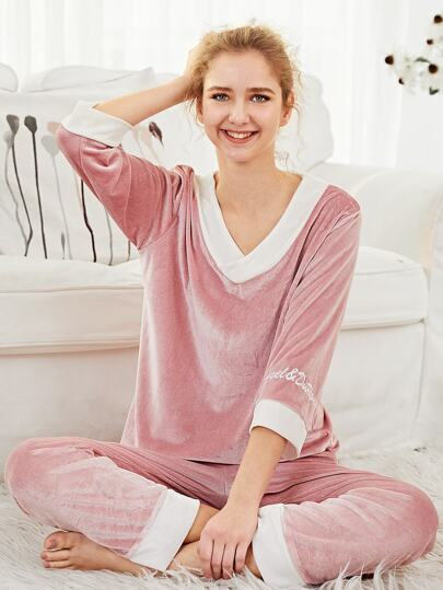 Letter Embroidered Top & Pants PJ Set