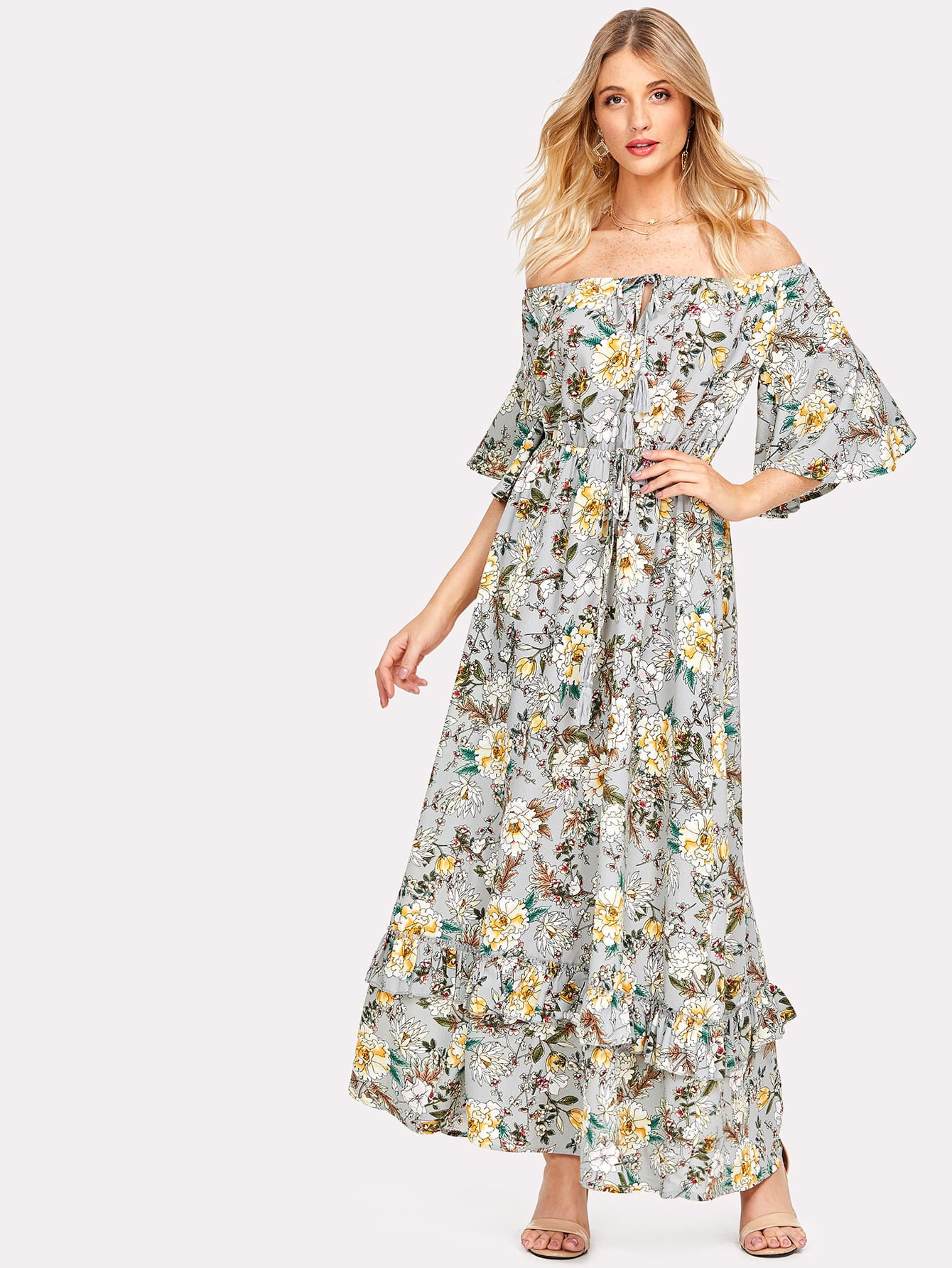 Flower Print Knot Front Ruffle Trim Bardot Dress knot front shirred ruffle sleeve bardot top