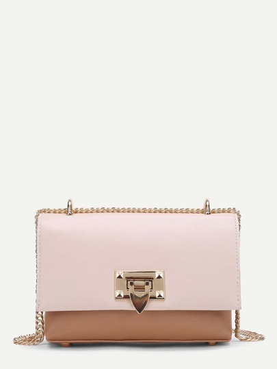 Two Tone Flap Crossbody Bag