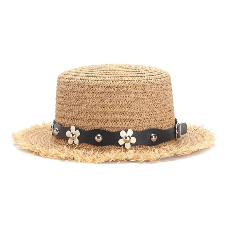 Flower Decorated PU Band Straw Hat, Khaki