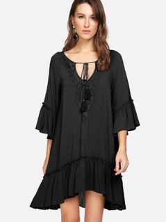 Crochet Trim Tassel Tie Neck Smock Dress