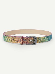 Metal Buckle Sequin Belt