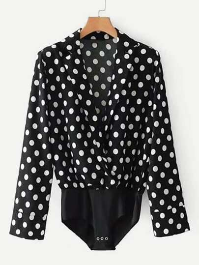 Polka Dot Blouse Bodysuit