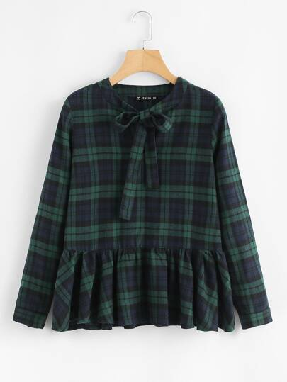 Tie Neck Plaid Smock Top