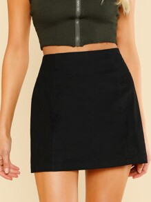 Solid High Waist Skirt