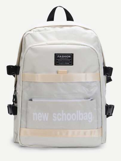 Piping Detail Letter Print Canvas Backpack