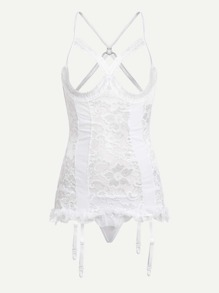 Open Cup Garter Chemise Set