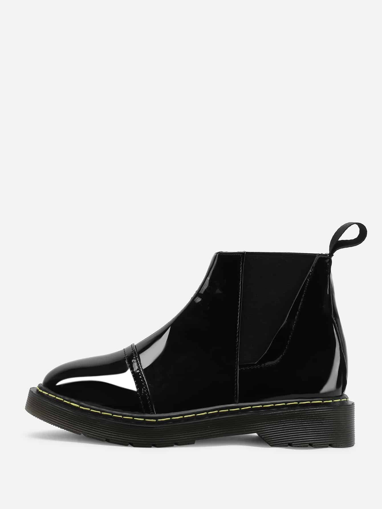 Фото Round Toe Patent Leather Ankle Boots