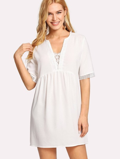 Plunge Neck Lace Panel Smock Dress