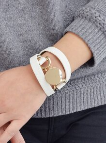 White Multi-Layer Winding Wide Bracelet