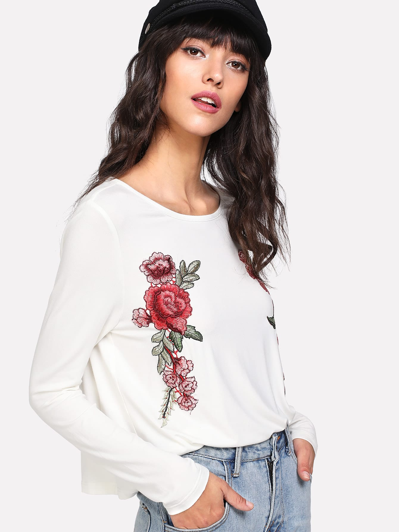 Embroidered Rose Applique T-shirt two tone embroidered applique t shirt