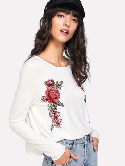 Embroidered Rose Applique T-shirt