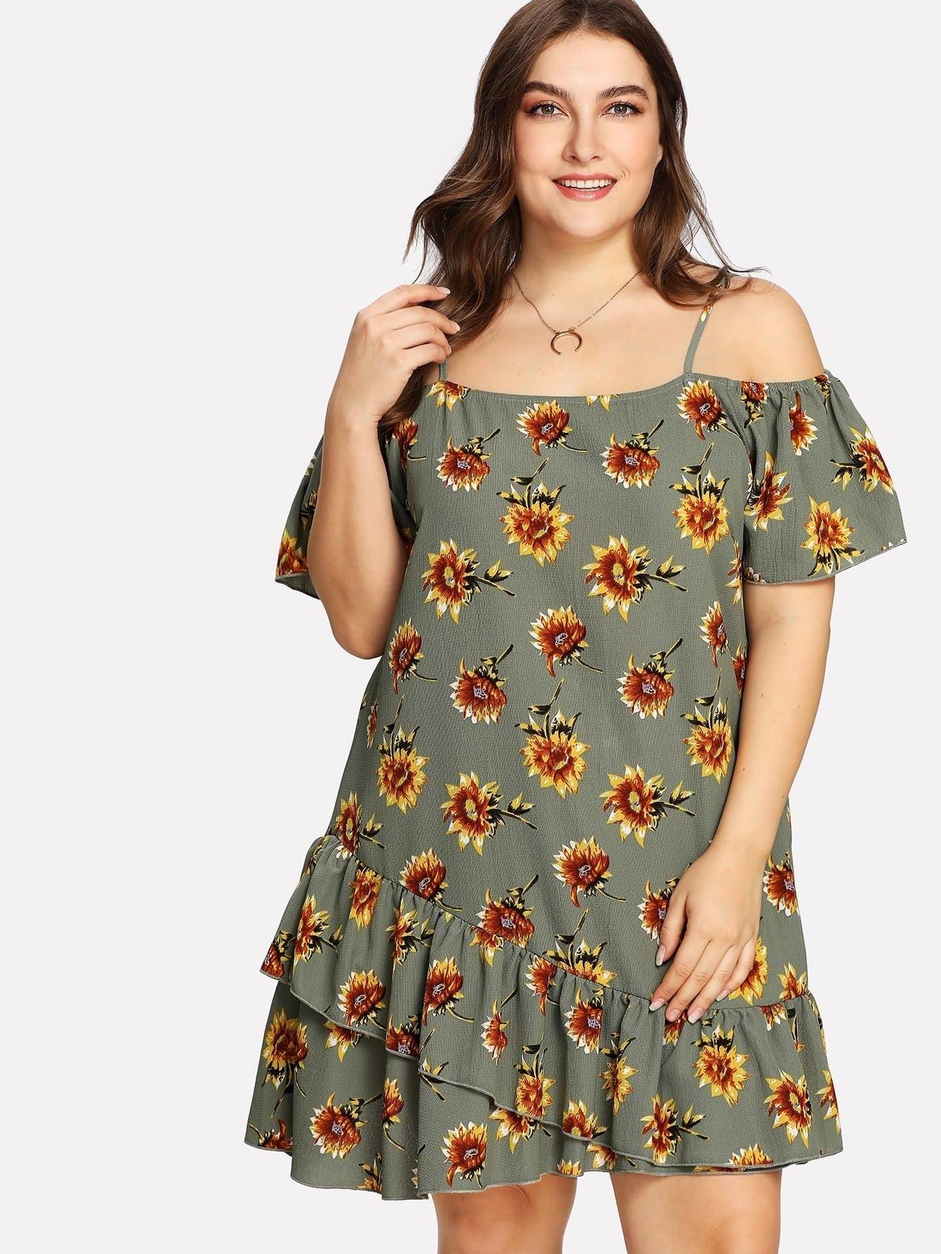 Купить Модное платье с оборкой и цветочным принтом, Franziska, SheIn