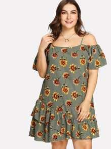Sunflower Print Ruffle Hem Dress