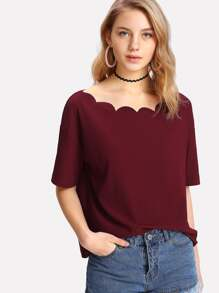 Scallop Trim Neck Drop Shoulder Tee