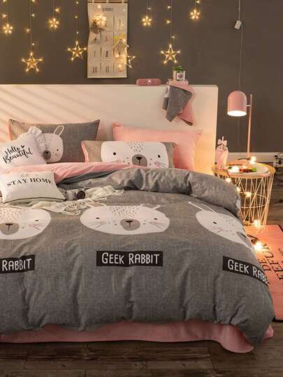 2.0m 4Pcs Cartoon Print Duvet Cover Set